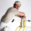 Decorator stood at top of ladder — Stock Photo