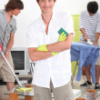 men cleaning — Stock Photo