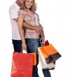 Cuddle with shopping — Stock Photo