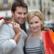 Couple out shopping together — Stock Photo