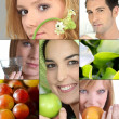 Stock Photo: With fruits or flowers