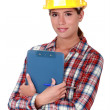 Stock Photo: Woman engineer in construction industry
