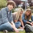 Stock Photo: Three students sitting on the grass of a campus.