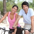 Stockfoto: Couple cycling through coastal pine forest