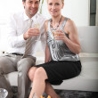 Couple drinking champagne — Stock Photo #7608834