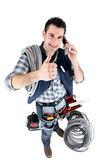 Handyman giving the thumb's up — Stock Photo
