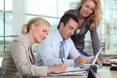 Drie collega's samen te werken — Stockfoto