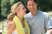 Landscape of mature sporty couple — Stock Photo