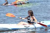 Woman on a kayaking excursion — Stock Photo