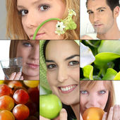 With fruits or flowers — Stock Photo