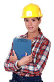 Woman engineer in construction industry — Stock Photo