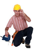 Tradesman giving a salute — Stock Photo