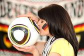 Female German soccer supporter — Stock Photo