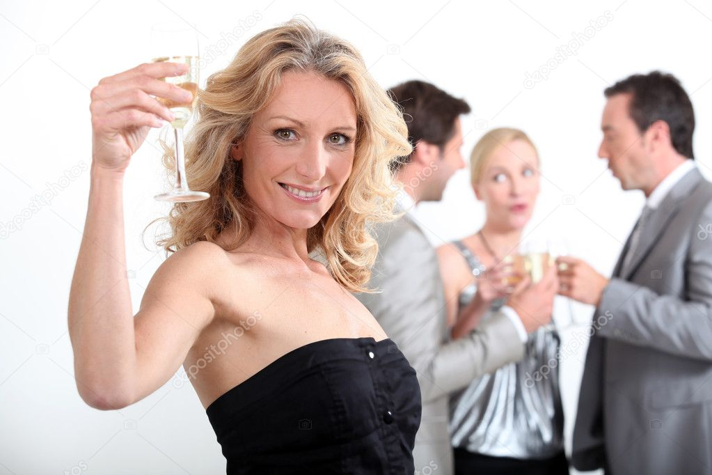 Portrait of a woman toasting — Stock Photo #7607495