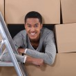Young man on moving day — Stockfoto #7612628