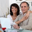 Stock Photo: mature couple using a credit card online
