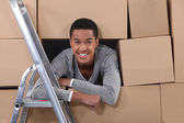 Young man on moving day — Stock Photo