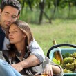 Couple sat by basket full of grapes - Stockfoto