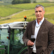 Stock Photo: Vineyard owner stood in field with glass of wine