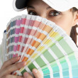 Female decorator with paint swatch — Stock fotografie #7621995