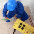 Plumber making measures on workbench, top view — Stock Photo #7622160