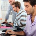 jonge mannen die werken op computers — Stockfoto