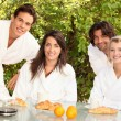 Two couples sharing breakfast — Stock Photo #7623494