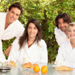 Two couples sharing breakfast — Stock Photo