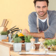 Stock Photo: Smiling chap relaxed in his kitchen