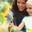 Girl looking at sunflower — Stock Photo