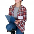 Female construction worker with a clipboard — Stock Photo #7625242