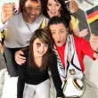 A group of friends supporting the German football team — Stock Photo #7626166