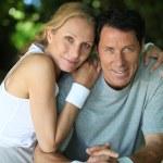 Landscape of tennis couple — Stock Photo #7626588