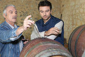 An oenologist and a wine producer — Stock Photo
