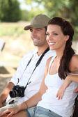 Couple of happy tourists — Stock Photo