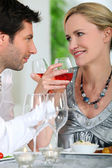Couple drinking wine — Stock Photo