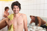 Trio of male flatmates in bathroom — Stock Photo