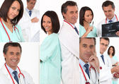 Collage of a team of doctors — Stock Photo