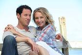 Portrait of a couple on a pontoon — Stock Photo