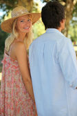 Happy couple in the park — Stock Photo