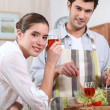 Couple making a dinner — Stock Photo