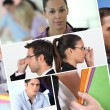 A collage of business professionals at work — Stock Photo