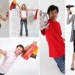 Holding shopping bags, objects or an @ - Stock Photo