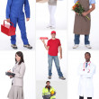 Collage of occupations — Stockfoto