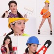 Collage of a female construction worker — Stock Photo