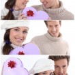 Collage of a couple on Valentine's Day — Stok fotoğraf