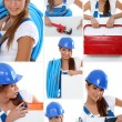 Stock Photo: Smiling girl plumber in dungarees