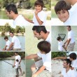 Collage of a man and a little boy fishing — Stock Photo