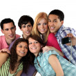 Group of young adults taking pictures — Stock Photo #7659513