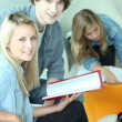 Stockfoto: Students in common room discussing assignment